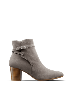 Our Kelston ankle boot in suede has a narrow crossover strap with buckle detail.