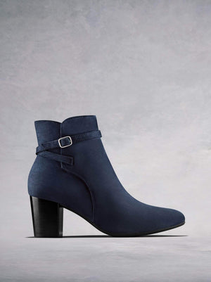 Kelston, our heeled ankle boot in navy kid suede with cross over ankle strap. Available in our standard or wide fit.