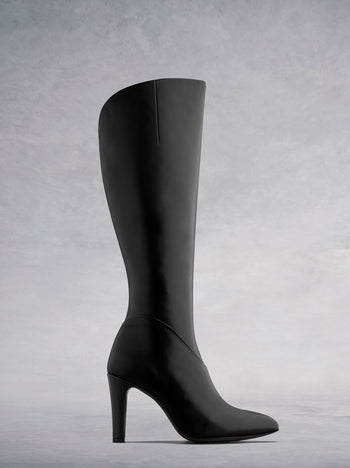 Kinver Black Leather - Knee high boots with pointed toe and curved topline.