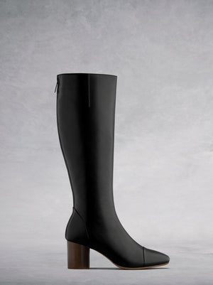 Langley Black Leather - Knee high boots with round toe and stacked heel.