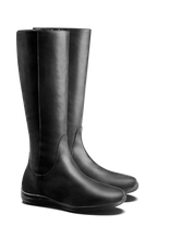 Malvern, a practical knee high black leather boot with an everyday sports sole.
