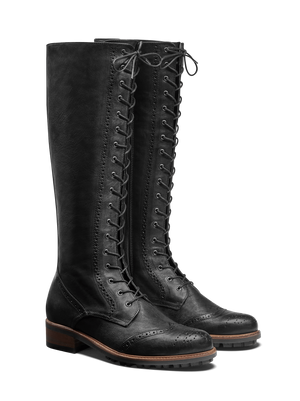 Marvel Black Leather - Flat, lace-up knee high boots in calf leather.
