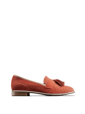 Milford, a statement loafer in coral orange suede with perforated detailing.