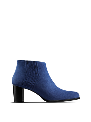 Miller Cobalt Blue Suede - Heeled ankle boot with zig-zag detailing.