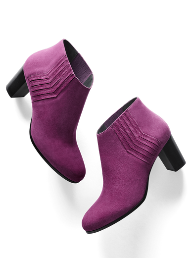Miller, a fuchsia purple suede, mid-height ankle boot with zig-zag detail.