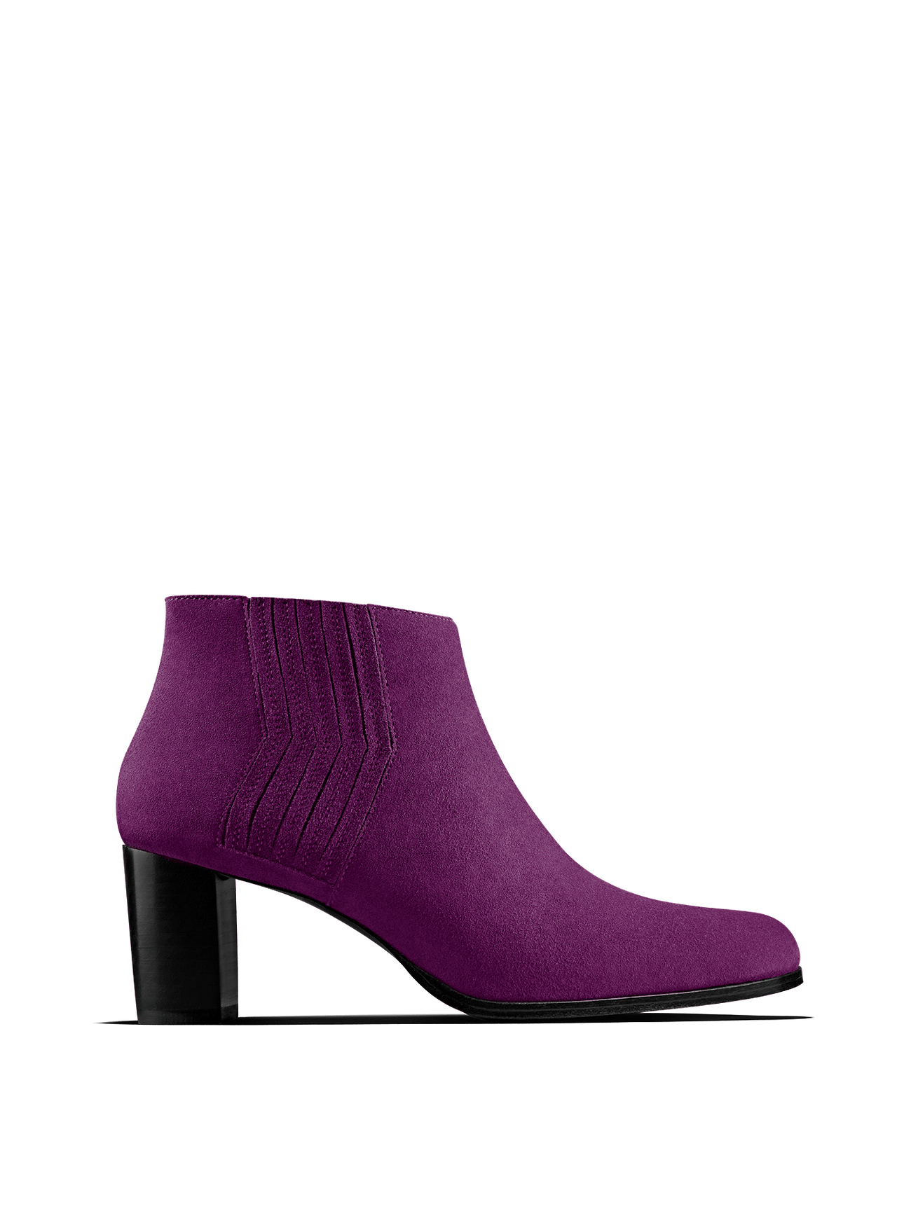 Miller in fuchsia purple suede, our statement ankle boot with zig-zag detail.