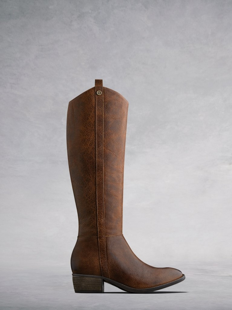 The Phoenix a western-inspired 'pull-up' tan leather knee high boot.