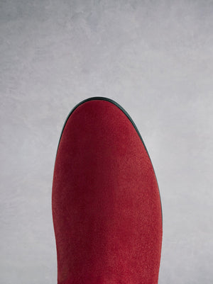 Raven Red Suede - Flat suede boot with a hidden wedge.