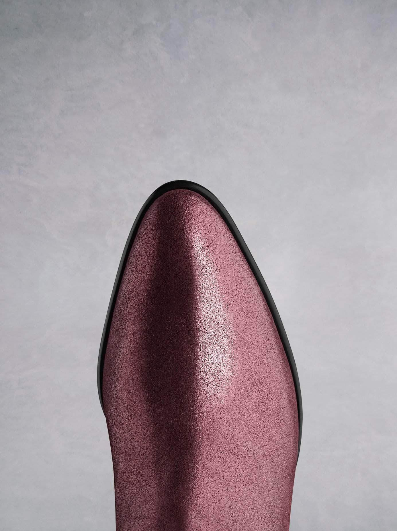 Renata in plum metallic leather has a stylish almond toe shape.