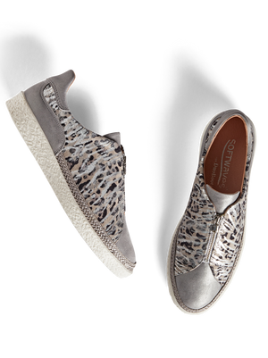 Ryde Silver Metallic - Metallic leather trainer with central zip