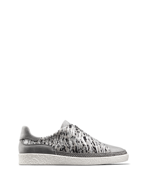Ryde, a statement silver trainer with on-trend safari and metallic details.