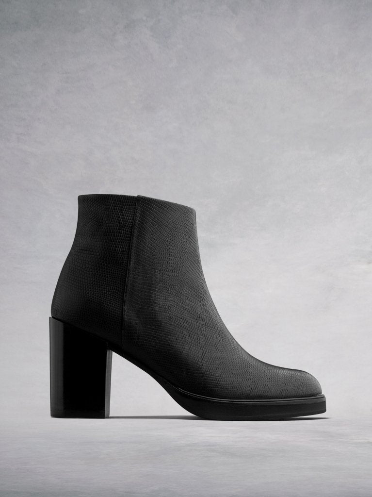 Ryton Black Lizard Embossed Leather - High heel platform ankle boots.
