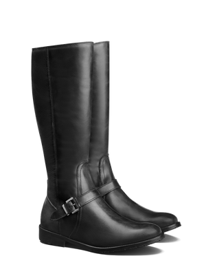 Sherwood Black Leather - Casual knee high boots with tread sole.