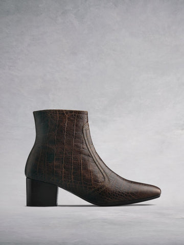 Shimmer Brown Mock Croc Leather - Low-heel ankle boots with square toe.