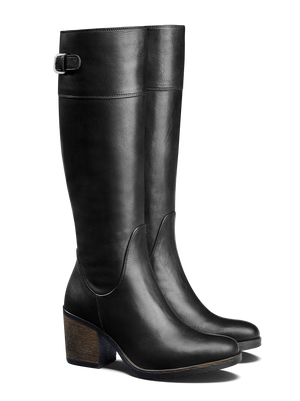Siren Black Leather - Knee high, leather boot with block heel