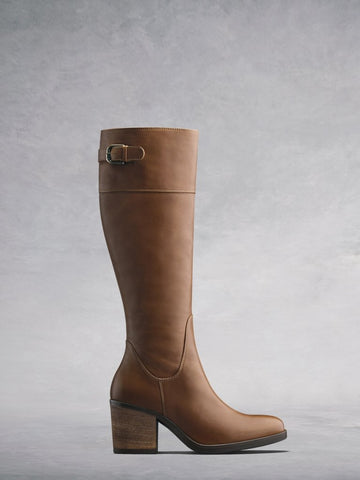 Siren Tan Leather - Knee high, leather boot with block heel.