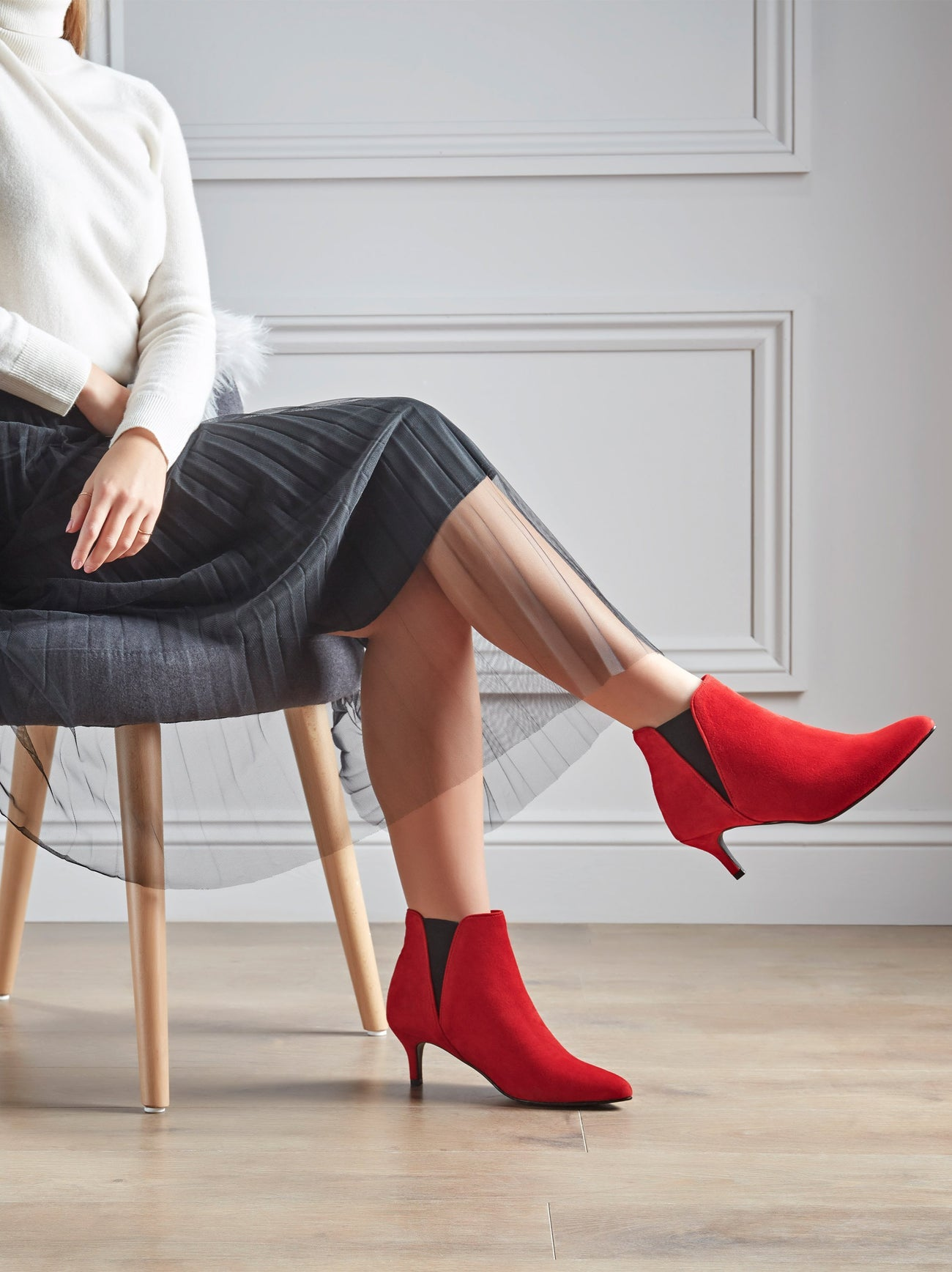Stylish Somerton; a red kitten heel, Chelsea boot will take you from day to night.