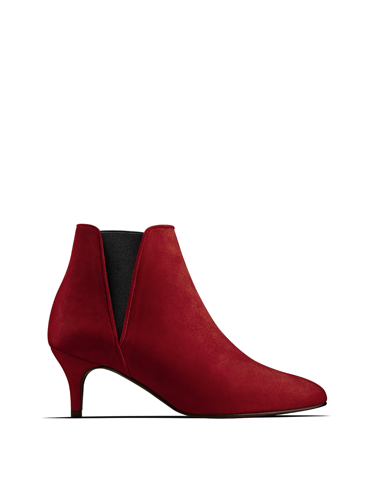 Somerton, our kitten heel Chelsea boot in eye-catching red suede.