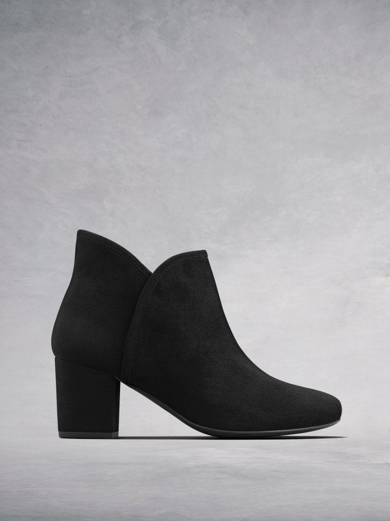 Tigerlily Black Suede - Mid height suede block-heeled ankle boot.
