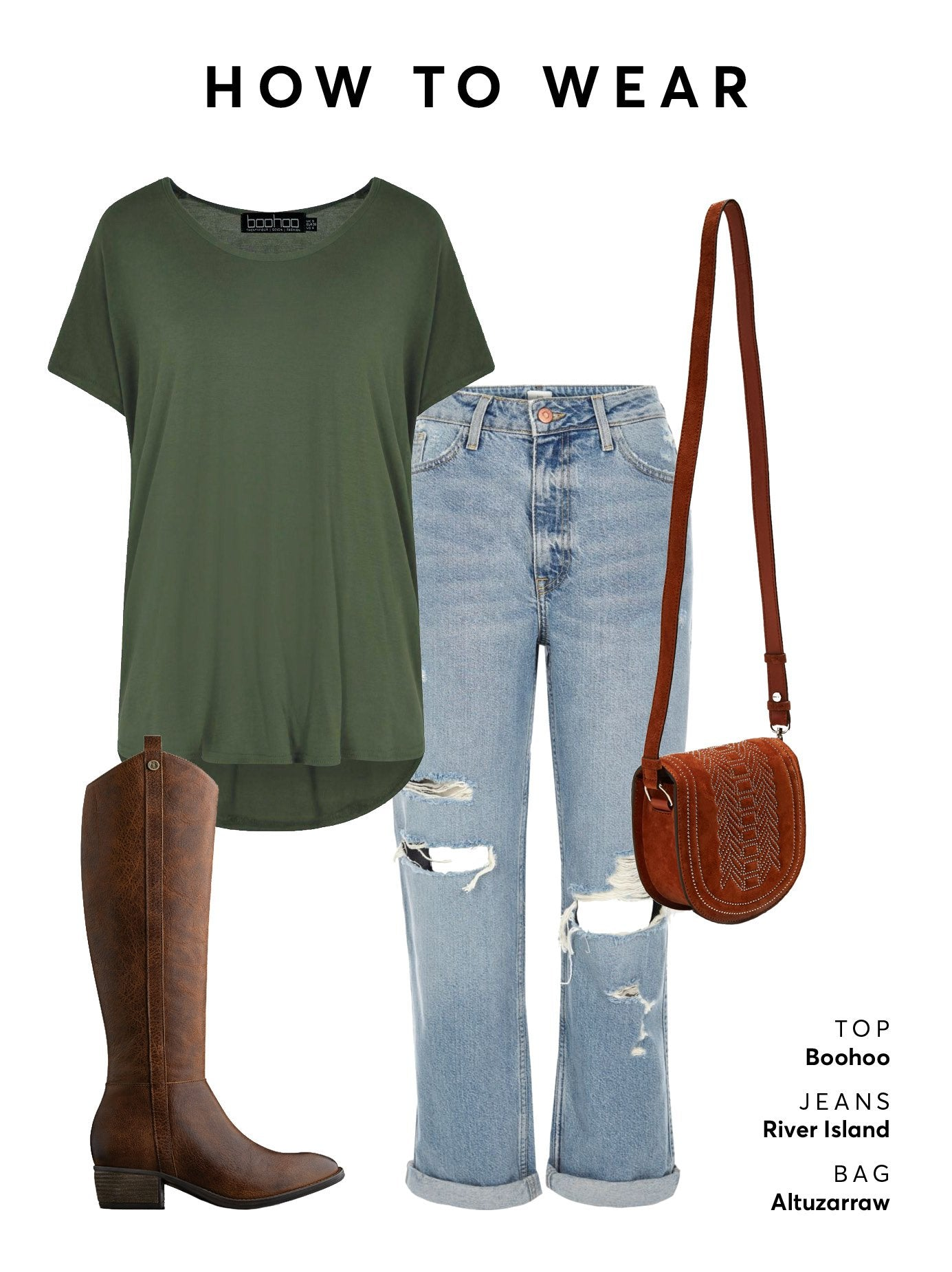 Wear with denim jeans a casual top and a cross-over bag for a chic look.