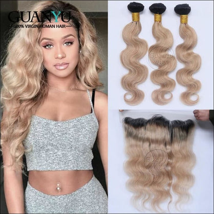 Guanyuhair #1B/27 Dark Roots Ombre 3 Bundles With 13x4 Lace Frontal Closure Ear to Ear Brazilian Body Wave Remy Human Hair - Middl 29 / 12 &