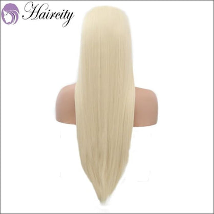 Haircity Silky Straight Synthetic Lace Front Wigs #60 Blonde Heat Resistant Natural Part Wig - wig
