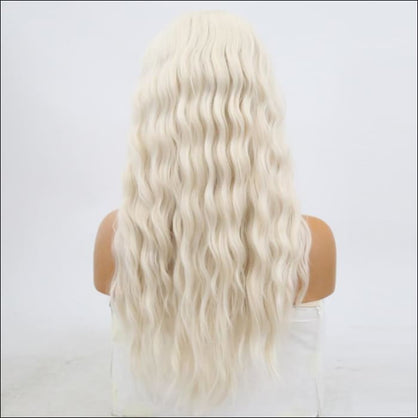 Haircity Wavy Synthetic Lace Front Wigs #60 Blonde Heat Resistant Natural Part Wig - wig