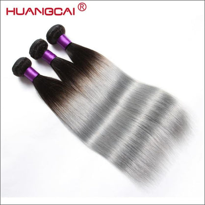 HuangCai 1B/Grey Straight 3 Bundles Peruvian Human Hair Weave Dark Root Sliver Gray Ombre Color Hair Extention Non-Remy Hair - Ombre / 12 12