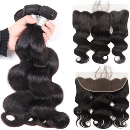 Human Hair Bundles With Frontal Closure 3 Bundles Body Wave Lace Frontal With Bundles Brazilian Hair Weave Bundles Non Remy - 14 & 16 & 18 &