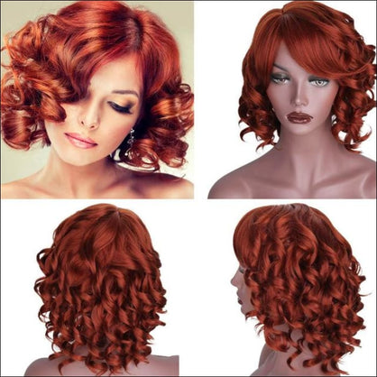 Is a wig Blond Red Black Wigs Short Hair for White Women Synthetic Ombre Curly High Temperature Fiber Hair - #30 / 10inches