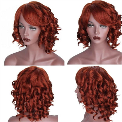Is a wig Blond Red Black Wigs Short Hair for White Women Synthetic Ombre Curly High Temperature Fiber Hair