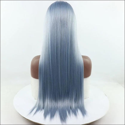 Light Blue Mix Grey Long Straight Hand Tied Synthetic Lace Front Wig