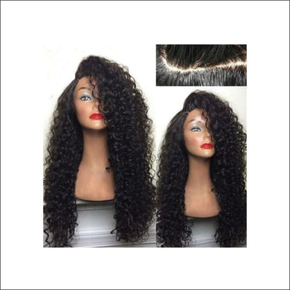 Long Shaggy Deep Side Kinky Curly Synthetic Wig - wig