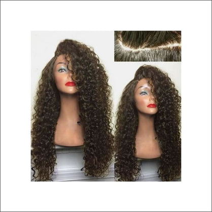 Long Shaggy Deep Side Kinky Curly Synthetic Wig - BROWN - wig