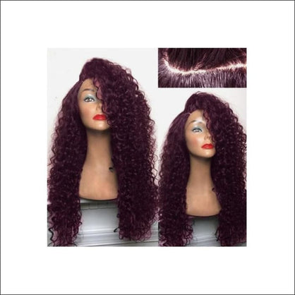 Long Shaggy Deep Side Kinky Curly Synthetic Wig - WINE RED - wig