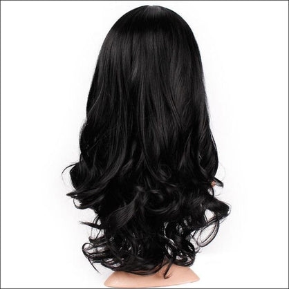 Long Wavy Wigs Natural Black Middle Part Body Wave Hair Wig - wig