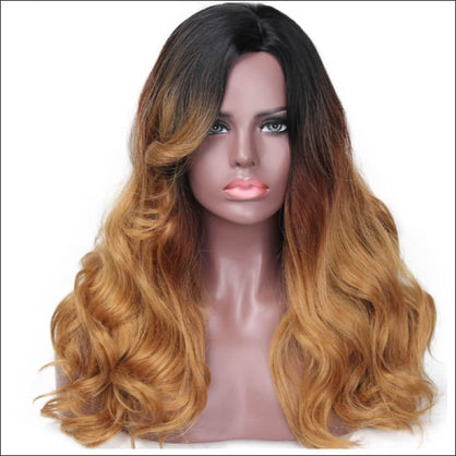 Ombre brown Heat Resistant Long Wavy Style Wigs - wig