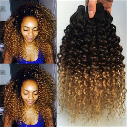 Ombre Kinky Curly Hair Brazilian Human Hair Weave Bundles 1B/4/27 Remy Afro Jerry Curly Human Hair Extensions 1 / 3 / 4 Bundles