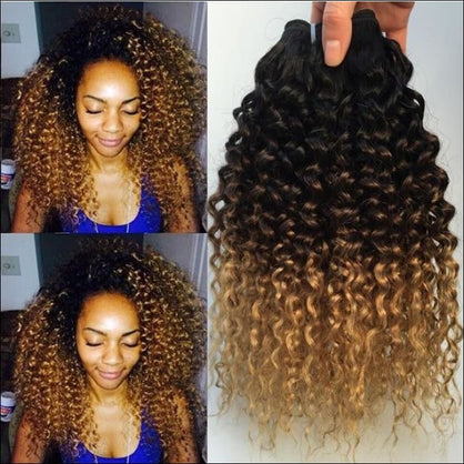 Ombre Kinky Curly Hair Brazilian Human Hair Weave Bundles 1B/4/27 Remy Afro Jerry Curly Human Hair Extensions 1 / 3 / 4 Bundles - T1B/4/27 /