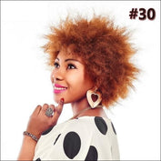 Puff Brown & Black Natural Short Afro Kinky Straight Wigs - #30 / 6inches