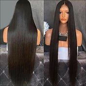 Silk Straight Synthetic Lace Front Wigs Black - wig