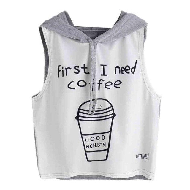 First I need coffee Hooded Crop Top