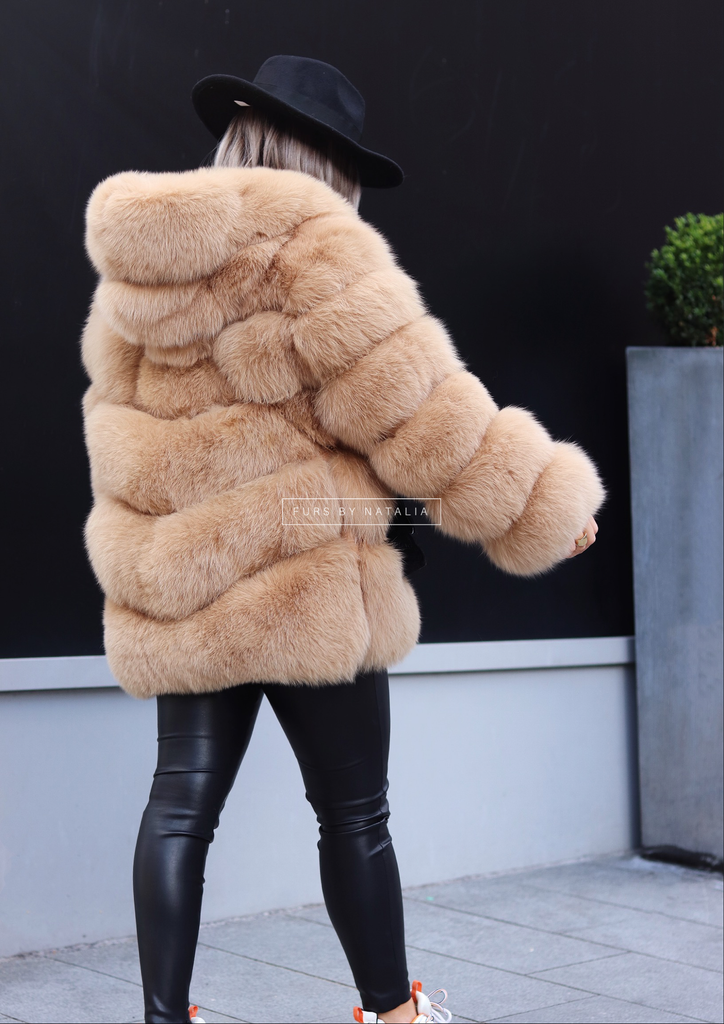 Hooded Oversized Fox Fur Coat