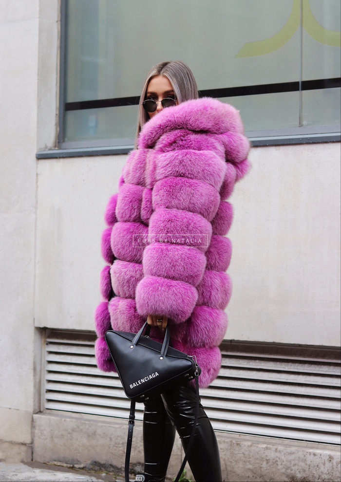 Long Hooded Fox Fur Coat