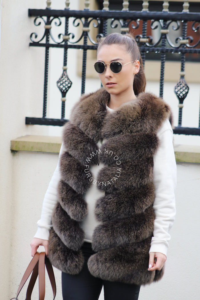 Panelled Fox Fur Vest