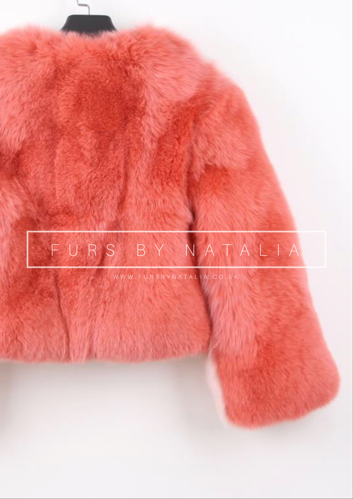 Contrast Fox Fur Coat