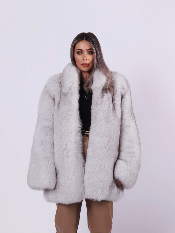 Flat Longline Fox Fur Coat