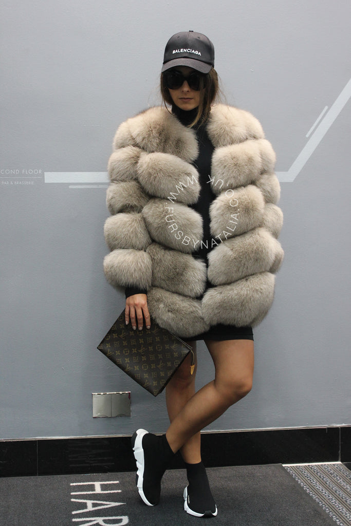 Oversized Fox Fur Coat (Zip Off Sleeves)
