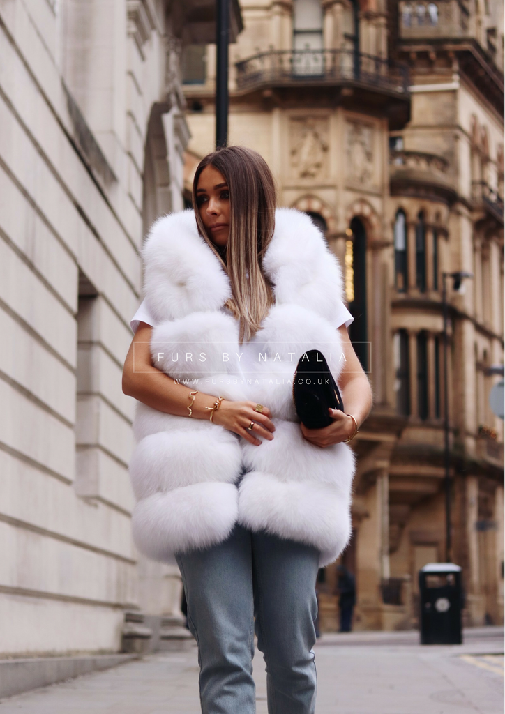 Hooded Straight Fox Fur Vest