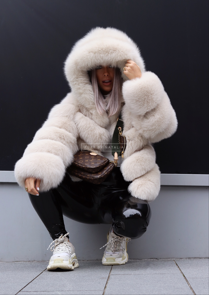 Hooded Slanted Fox Fur Coat